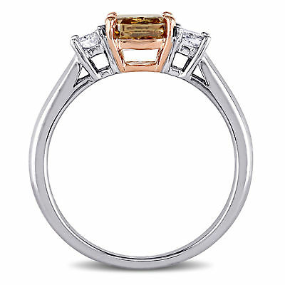 Amour Brown & White Diamond 3-Stone Engagement Ring in 2-Tone 14k Gold 1