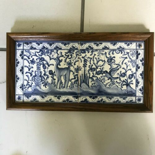 Framed Delft Tiles  with Deer in the Forest - E
