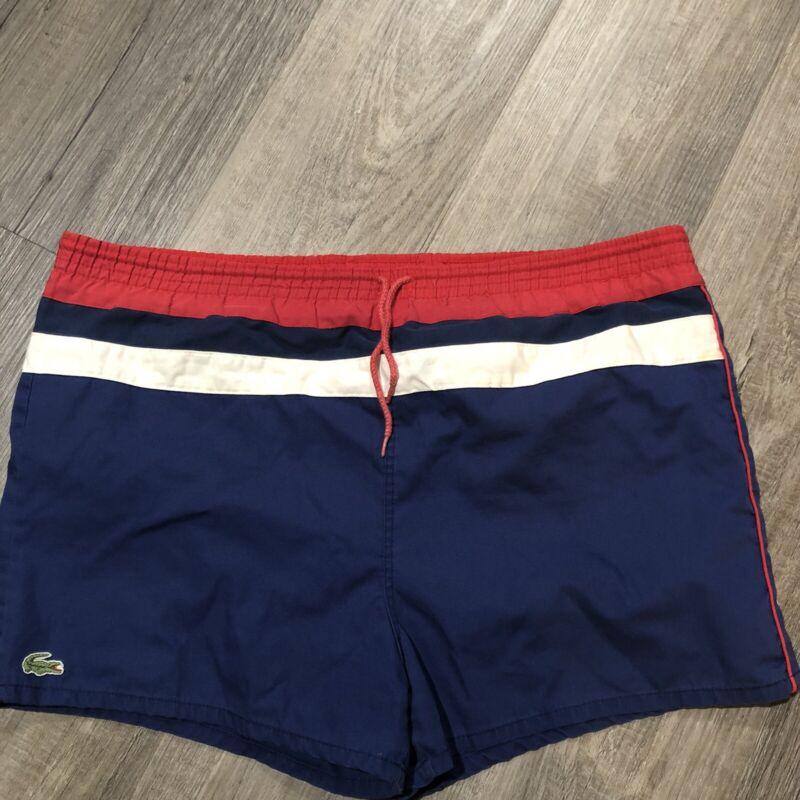 Vtg White Red Blue IZOD LACOSTE Swim Trunks Alligator Retro Shorts XL XXL No Tag
