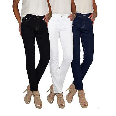Damen Stretch High Waist Straight Leg Jeans Hose Kick Flare bis Übergröße E187 Hose Flare Jeans