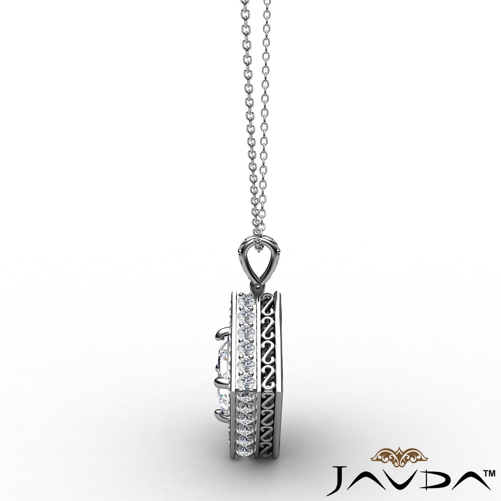 Kite Style Halo Princess 100% Natural Diamond Filigree Pendant Necklace 1.17ctw. 4
