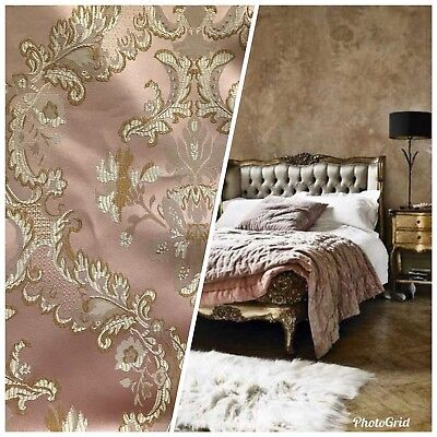 "110"" Wide- SALE! Designer Brocade Jacquard Fabric- Antique Pink Gold- Damask](Pink Damask)"