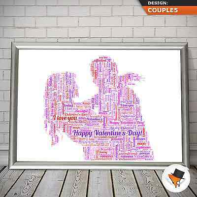 PERSONALISED WORD ART OF A COUPLE FOR BIRTHDAY ANNIVERSARY CHRISTMAS GIFT IDEA ()