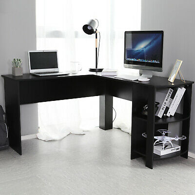 Black L-shaped Computer Desk Corner PC Table Workstation Home Office w/ Shelves
