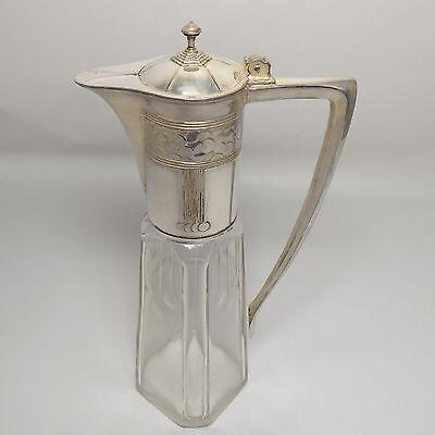 Weinkanne geschliffenes Glas mit silberner Montierung Antik um 1900