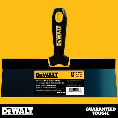 Dewalt Taping Knife 12 Premium Blue Steel Drywall Finishing Tool Soft-grip