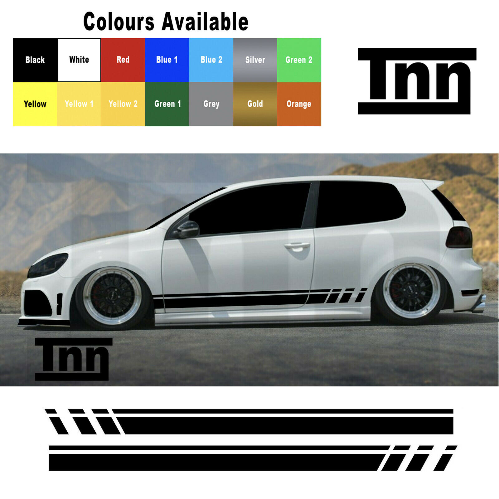 2x LOW YOUR TEXT VW LUPO 3L TDi GTi outline sticker 139