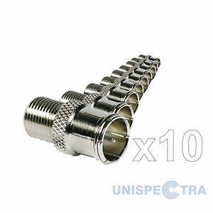 10 x QUICK F-TYPE PUSH-ON ADAPTOR COAX CONNECTOR EASY PLUG -TOP QUALITY!!