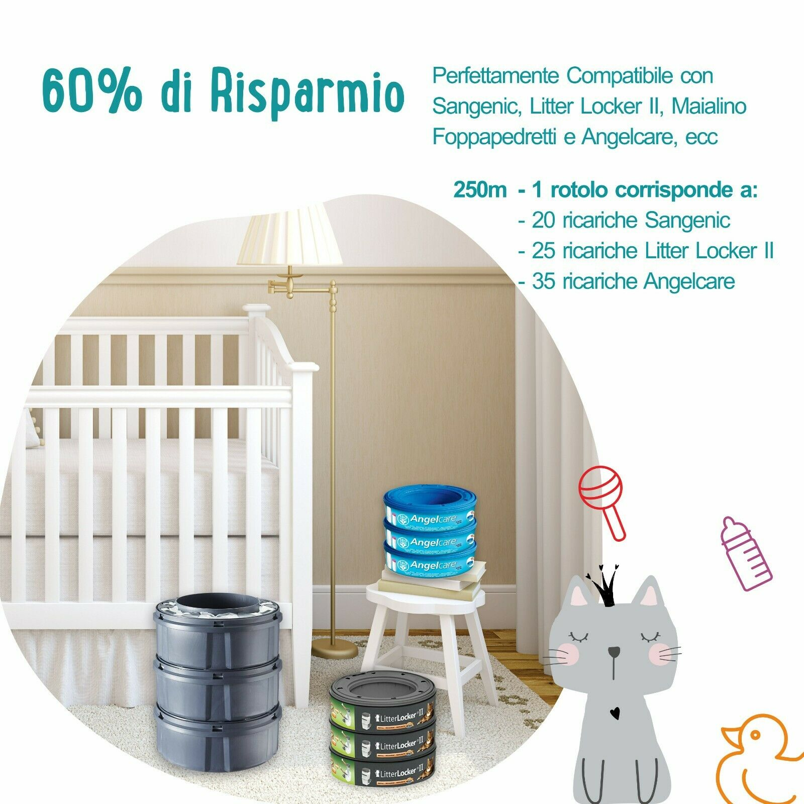 250m RICARICA MANGIA PANNOLINI COMPATIBILE SANGENIC TOMMEE TIPPEE, SIMPLEE & TEC