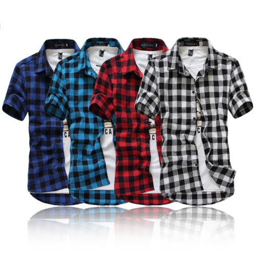 Herren Klassisch Freizeit Kariert Hemd Kurzarm Slim T-shirt Tops Shirt Gr.M-3XL