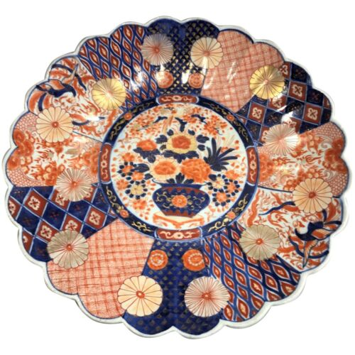 19th c Large Japanese Imari Charger with Scalloped Edge