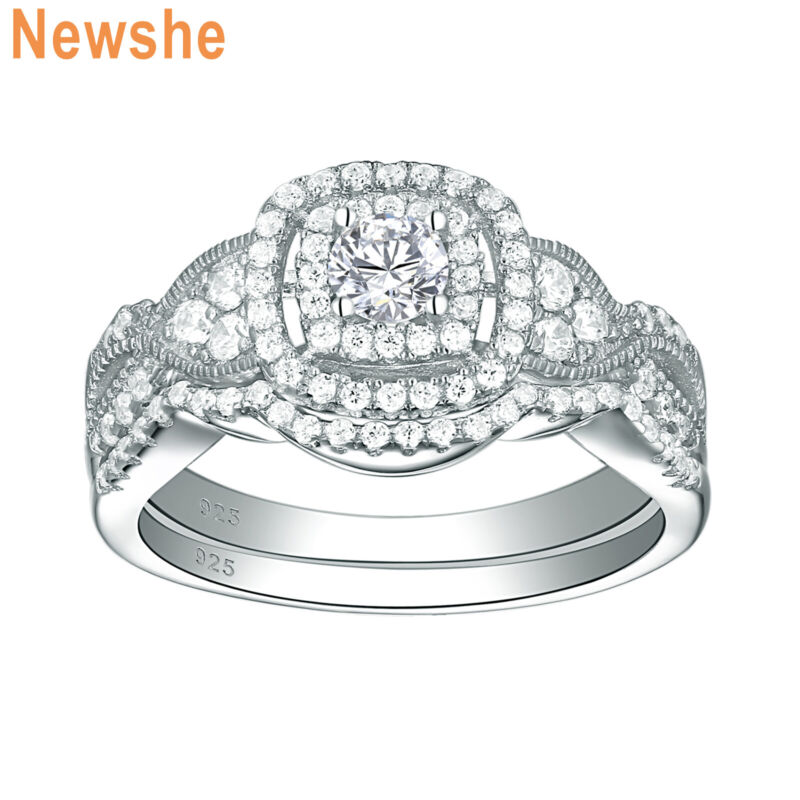 Newshe Engagement Wedding Ring Set For Women 1.4ct Sterling Silver Round Cz 5-10