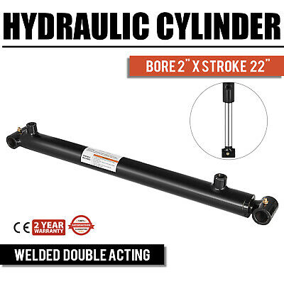 Hydraulic Cylinder 2 Bore 22 Stroke Double Acting Agriculture Black Sae 6