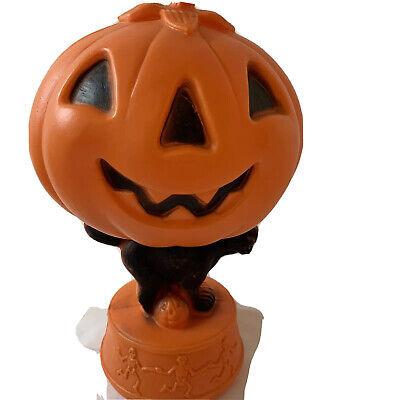 Halloween Jack-O-Lantern Blow Mold Black Cat Skeletons Vintage No cord Light