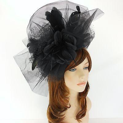 New Church Derby Cocktail Wedding Sinamay Fascinator Hat w Headband 3463 Black