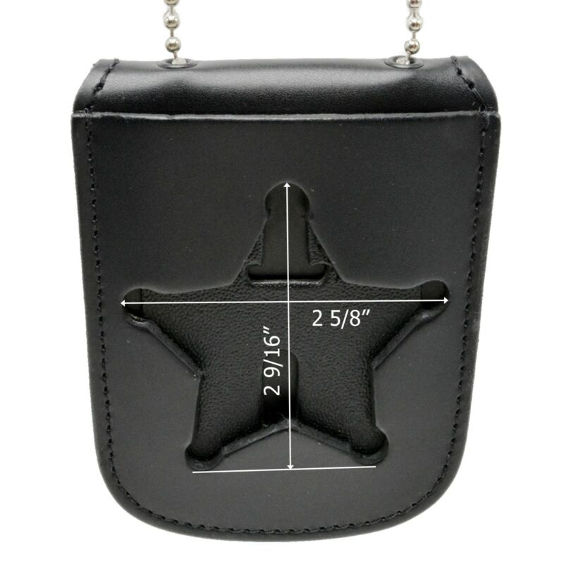 Ohio Florida Sheriff Neck Badge Holder ID Case 5 Point Star Recessed Cut Chain