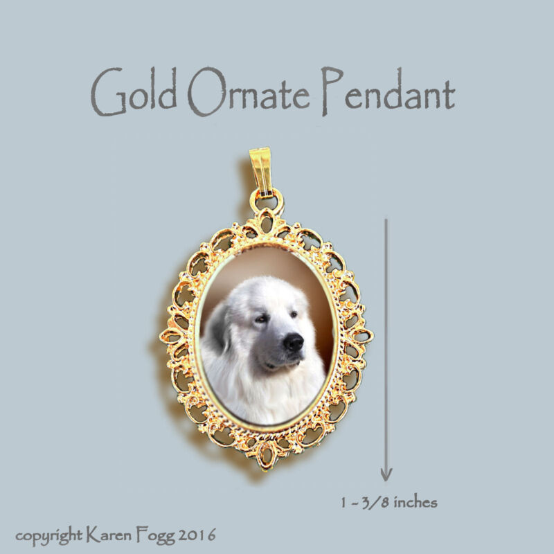 GREAT PYRENEES DOG - ORNATE GOLD PENDANT NECKLACE