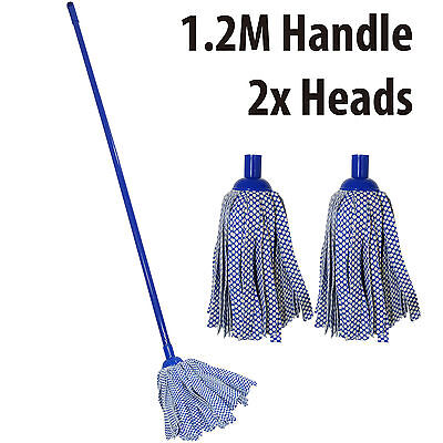 Cleaning Floor Cloth Strip Mop Cleaner Sweeper Long Handle 1.2M Wood Tile Dry