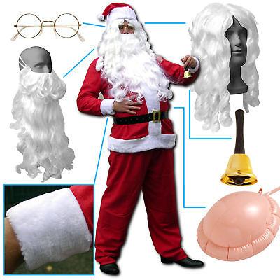 Weihnachtsmannkostüm mit Bart , Weihnachtsmann Nikolaus Kostüm Anzug Verkleidung