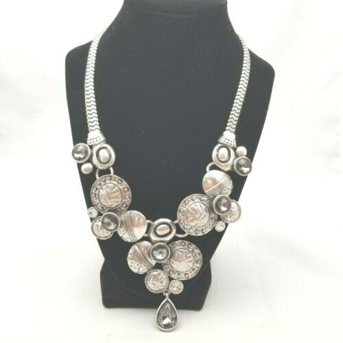 Vintage Brutalist Statement Necklace Silver Tone Matte Gray Rhinestone Modernist
