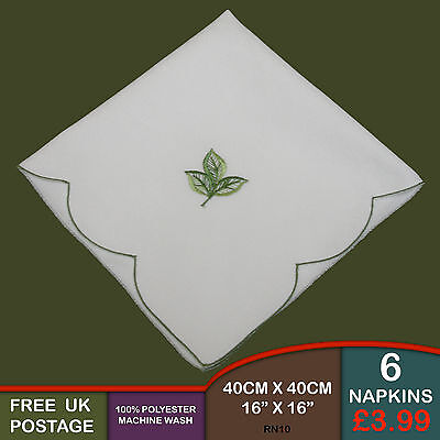 Set of 6 Ivory Green Leaf Embroidered Fabric Napkins Dining Kitchen Wedding RN10