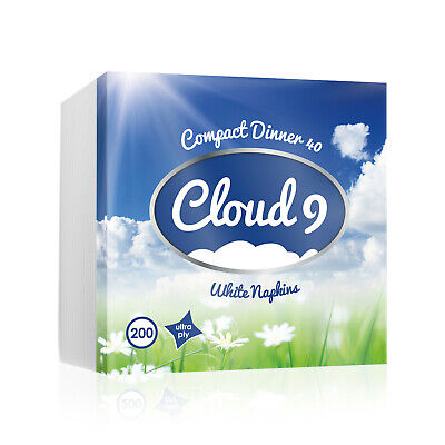 Cloud 9 UltraPly Luxury Compact Dinner 40cm White 4-Fold Paper Napkins UK - Cloud Paper