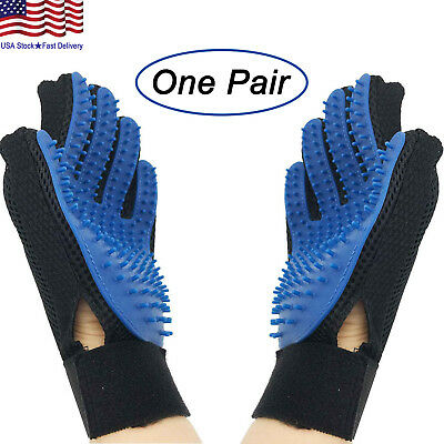 UPGRADED PAIR Pet Grooming Gloves Brush Dog Cat Fur Hair Removal Mitt Massage Brushes, Combs & Rakes