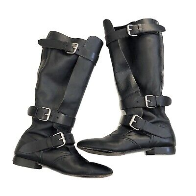GUC VIVIENNE WESTWOOD Pirate BOOTS sz 6 36.5 Black Buckles Designer Leather
