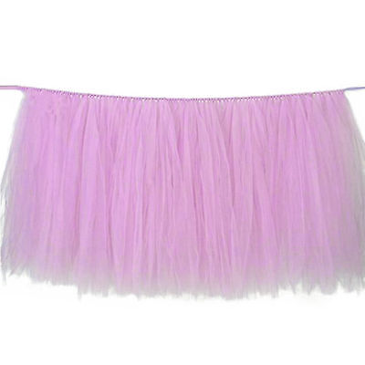 US STO Pink Table Tulle Skirt Tableware Wedding Party Birthday Gauze Decor - Pink Tulle Table Skirt
