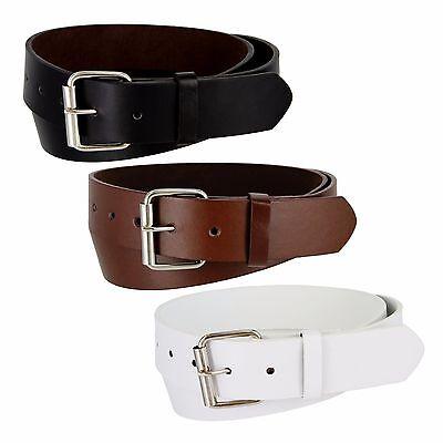 (Genuine Leather Belt Golf Baseball Softball New Mens Womens Black Brown White)