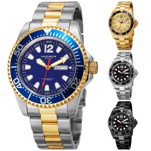 Men's Akribos XXIV AK947  Diver Style Day Date Stainless Steel Bracelet Watch
