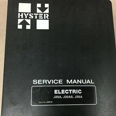 Hyster J25a J30as J35a Service Shop Repair Manual Electric Fork Lift Truck Guide