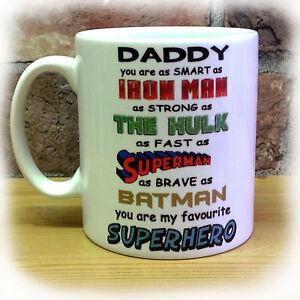 DADDY SUPERHERO GIFT MUG CUP PRESENT FATHER'S DAY CHRISTMAS BIRTHDAY HERO DADS
