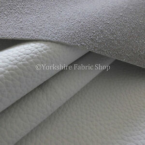 Recycled Eco Genuine Real Leather Hides Cuts Premium Upholstery Fabric - White