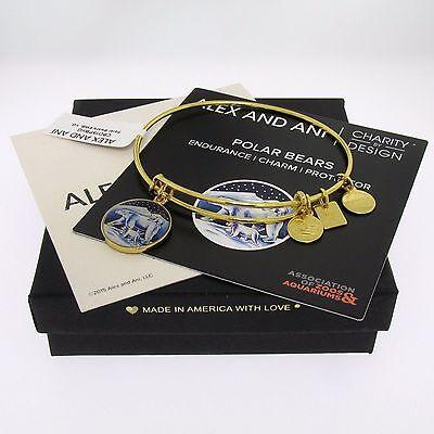 NWT Alex and Ani Polar Bear Charm Bangle Bracelet Shiny Yellow Gold SOLD OUT