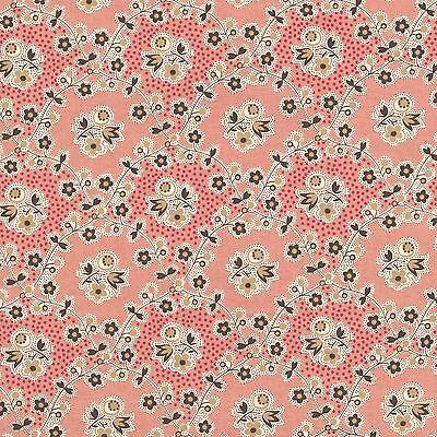 (RJR Chocolate & Bubble Gum Pink Brown Floral Vine Civil War Fabric 2724-001 BTY )