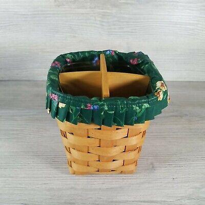 1998 Longaberger 6 inch Basket, w divider Green Flower Liner & Protecter