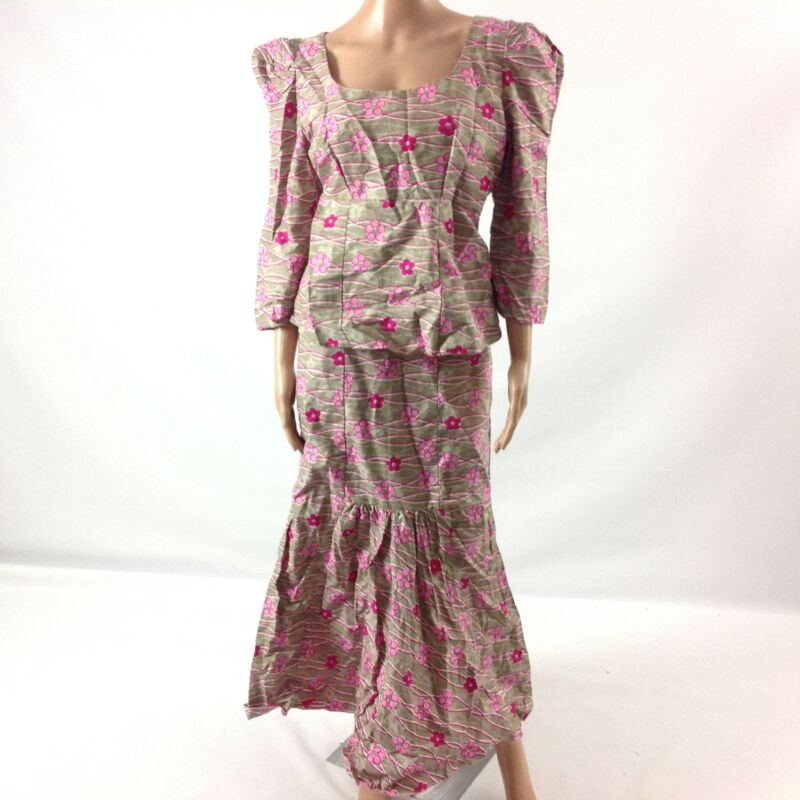 Womens 2 Piece Wear Top & Skirt African Ethnic Traditional Tribal Pink Size M