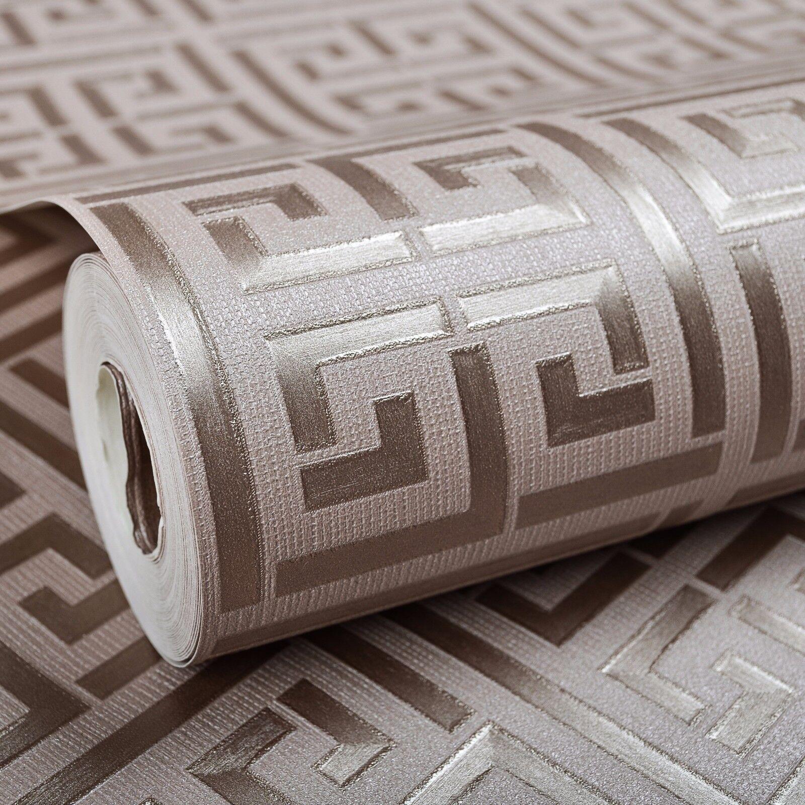 Neutral Trellis Wallpaper: Greek Key Design Modern Geometric Classic Trellis