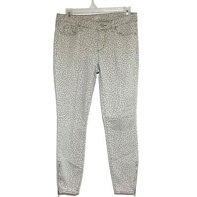 Ann Taylor LOFT Modern Skinny Ankle Zip Jeans Pants Animal Print Sz 4 27 Zipper