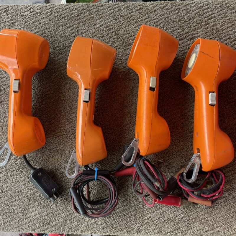 """Lot Of Vintage Rotary """"GTE Automatic Electric"""" LinemanTest Phone Handset Orange"""