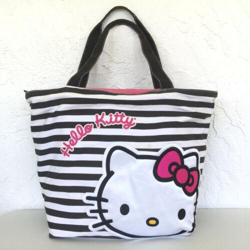 Sanrio FAB Hello Kitty Tote Bag Purse Striped Embroidery Detail Black White Rare