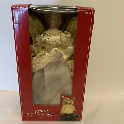 """Trim A Home K-Mart Vintage Lighted Gold Angel Christmas Tree Topper 10"""" in box"""