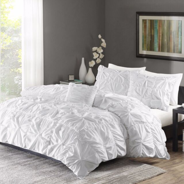 ruched bedding set king size bed white duvet cover u0026 shams 4 piece twist