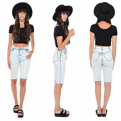 Vintage 80s 90s ACID WASH Denim High-Waist Cutoff Shorts Skinny Grunge Mom Jeans