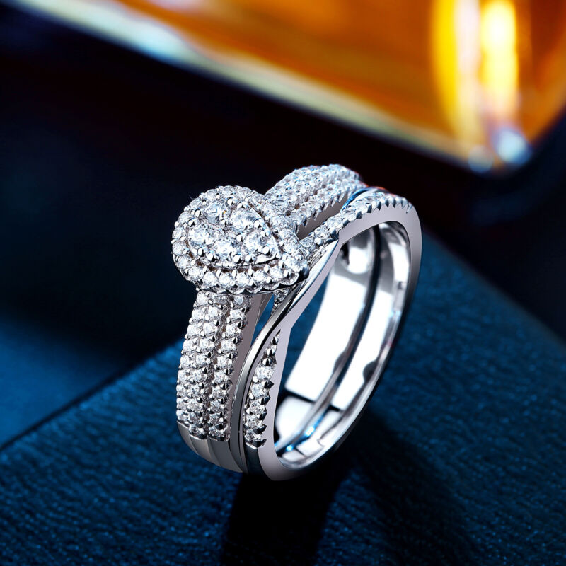 Newshe Wedding Engagement Ring Set For Women 925 Sterling Silver White Cz 5-10