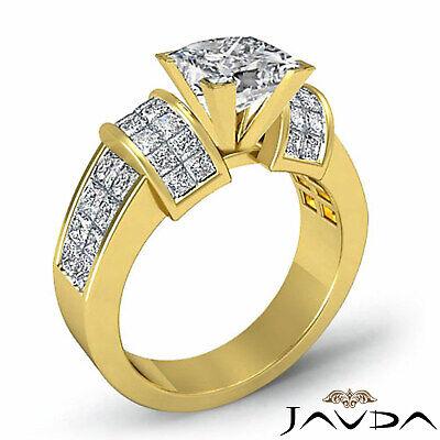 4 Prong Invisible Setting Princess Cut Diamond Engagement Ring GIA I VS2 2.96Ct 6