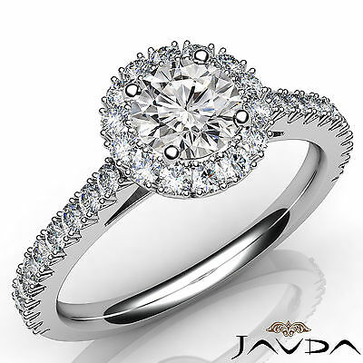 Halo French V Pave Set Women's Round Diamond Engagement Ring GIA G SI1 1.71 Ct