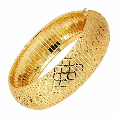 Flexible Textured Bangle Bracelet in 14K Gold-Plated Bronze, 7.5""