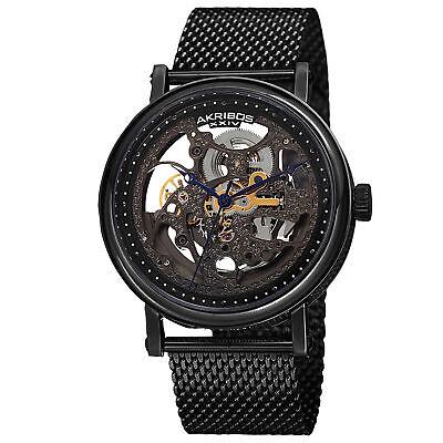 Men's Akribos XXIV AK732BK Automatic Skeleton Black Mesh Stainless Steel Watch